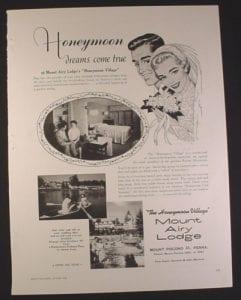 this magazine ad from 1958 honeymoon
