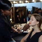 backstage, nars, beauty, uzo lead makeup stylist, tanya taylor, spring 2015,