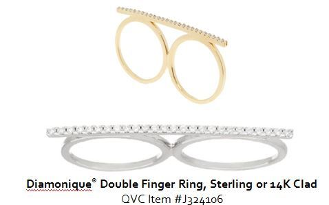 qvc diamonique Double Finger Ring sterling or 14K clad