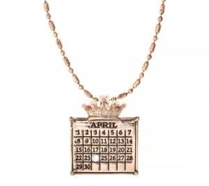 """rose gold """"Your Special Day"""" Crown Calendar Charm (Ball Chain Included)"""