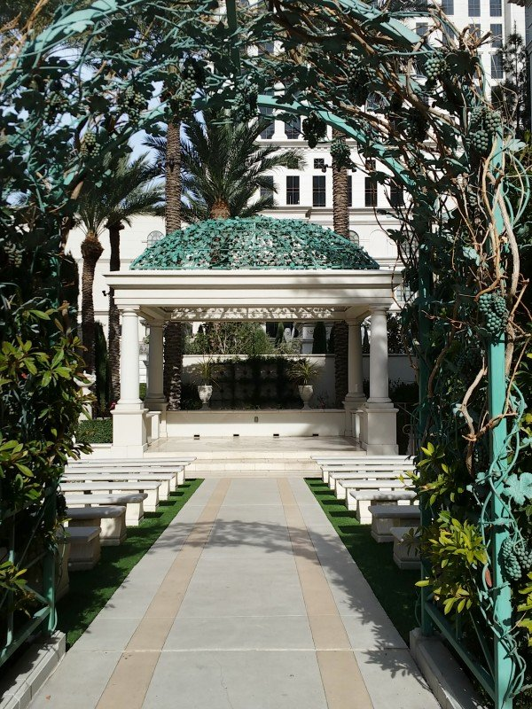 an outdoor wedding chapel at Casesars las Vegas