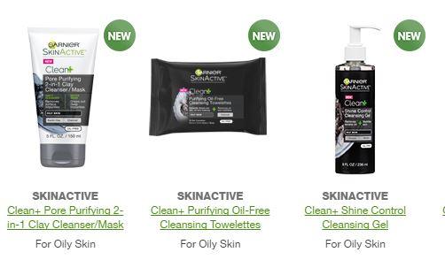 Garnier Clean + Oil Free products
