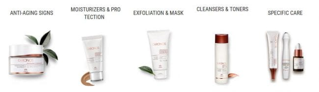 chronos natura brasil skincare lines the entire collection in this photo